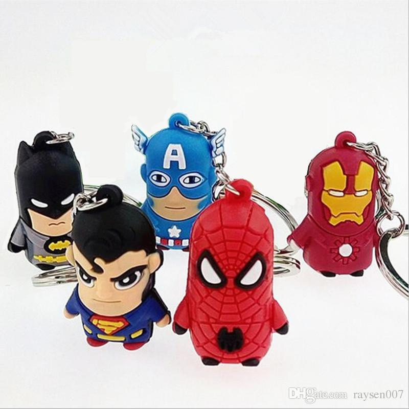 Hot Avenger keychain Superman Batman Spider-man Keychain Captain America Key rings Iron Man cartoon Key Chain sided soft toys for kids