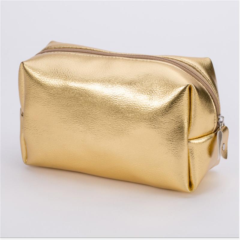 Maquillaje Cosmético bolsa de oro rosa bolsa de cremallera Maquillaje del organizador del bolso de almacenamiento caja de las bolsas del artículo de tocador de lavado Beauty Box