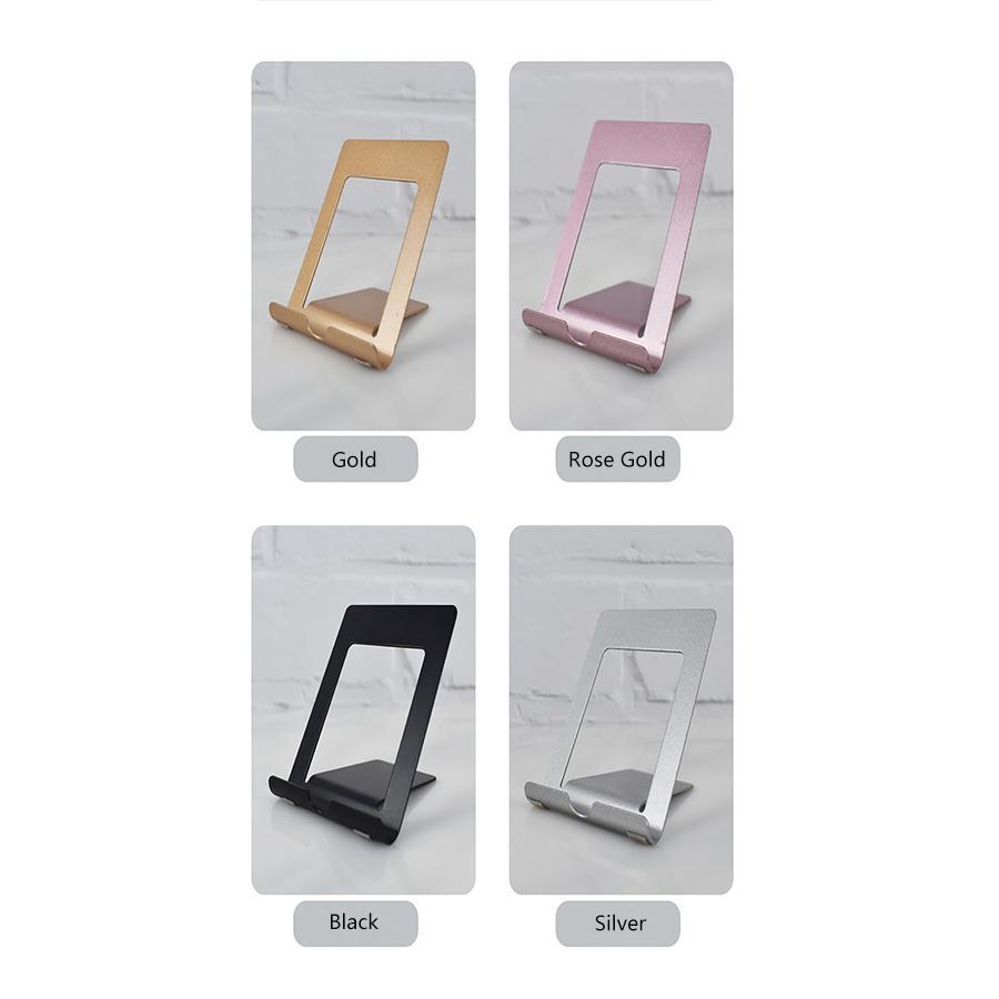 휴대 전화 태블릿을위한 미끄럼 방지 패드와 휴대용 매트 마무리 금속 데스크 스탠드 홀더 범용 데스크탑 브라켓 스텐트 무료 소매 상자