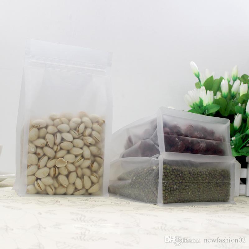 50 adet buzlu saydam sekiz taraf mühürlü paket standı çantası kapalı anti-nem şeffaf şeffaf çanta gıda saklama ayakta kılıfı