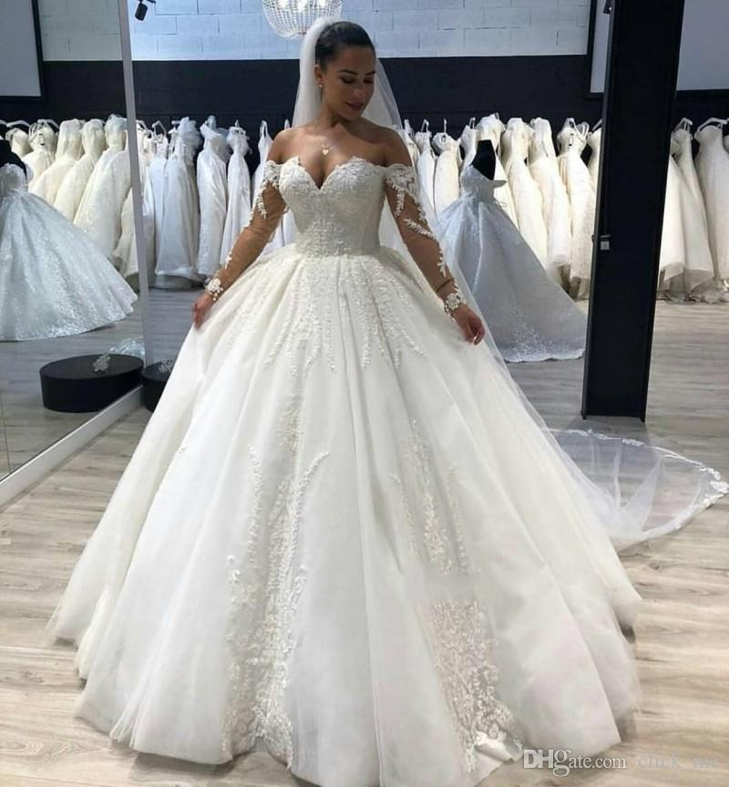 Discount Vintage Plus Size Wedding Dresses Off The Shoulder Illusion Long  Sleeves Wedding Dress Lace Appliques Ball Gown Bridal Gowns Cheap Wedding  ...