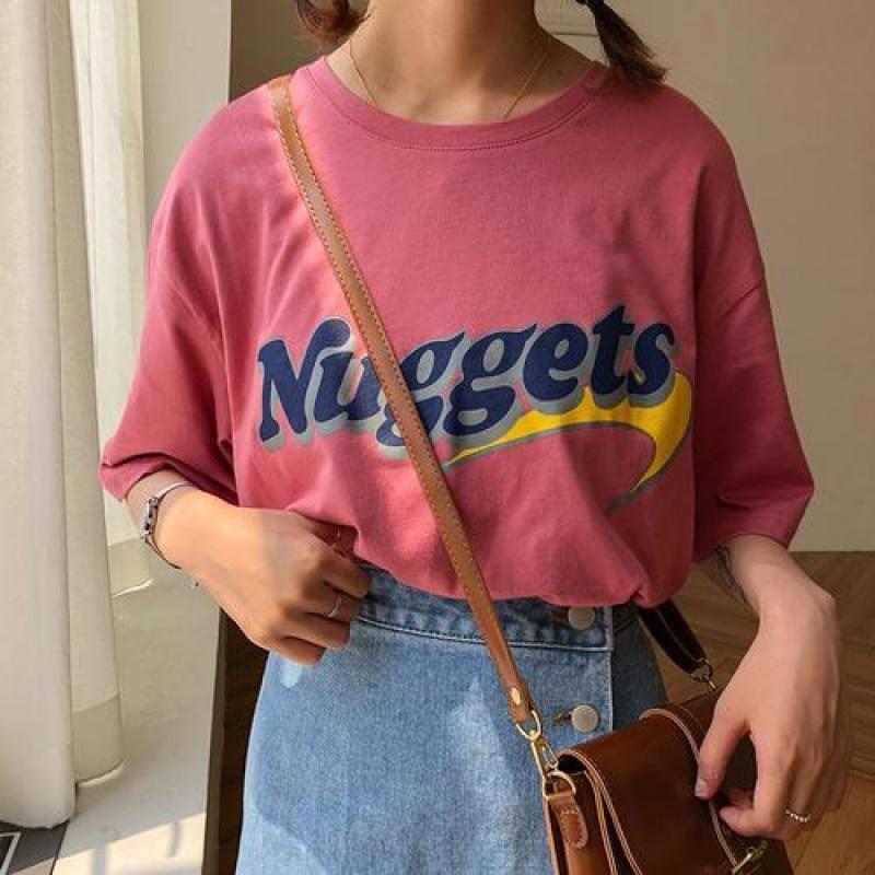 Oversize Loose Casual Letter Printed Vintage Top Long Design Basic 2018 New Fashion Streetwear Short Sleeve Female Women Tshirt C19040302