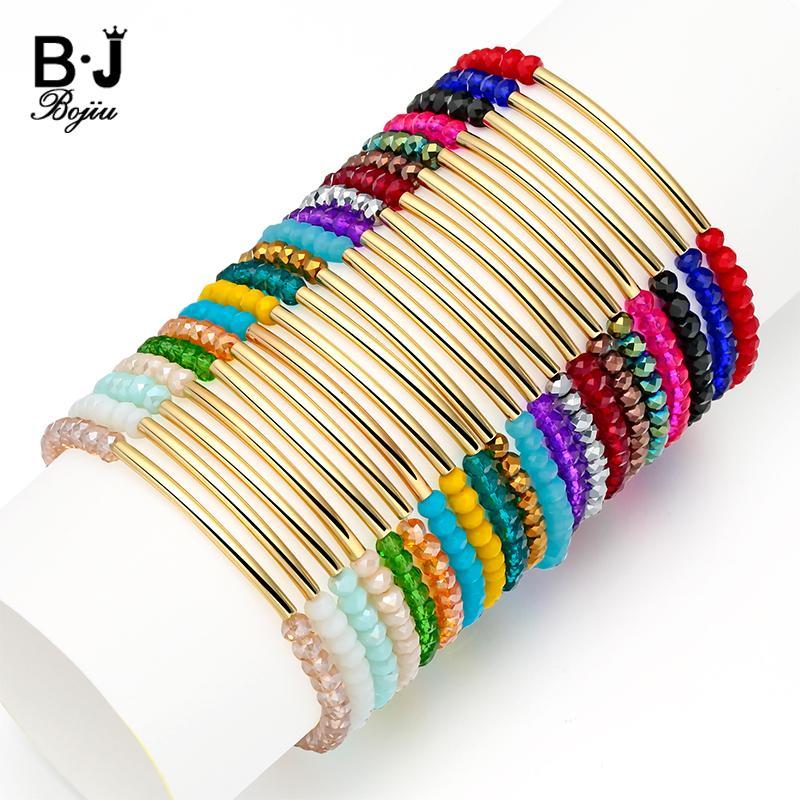 heap Strand Bracelets BOJIU 20 Colors Faceted Crystal Gem Stone Beads Bracelet For Women Jewelry Stretchy Cristal Bracelet Femme Bijoux J...