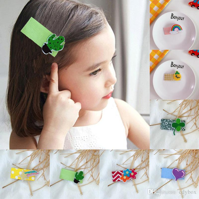 Free DHL Geometric Rectangle Cloth Wrapped BB Snap Barrette Hair Clip Cute Cartoon Embroidery Hairgrip Side Bangs For Young Girls