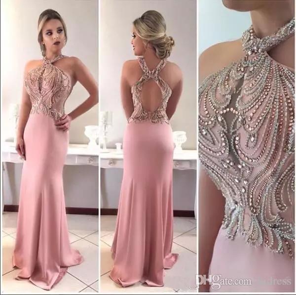 2019 Sexy Pink Mermaid Prom Dresses Halter Keyhole Crystal Beading Sleeveless Hollow Back Custom Dubai Vestido Evening Dress Wear Party Gown