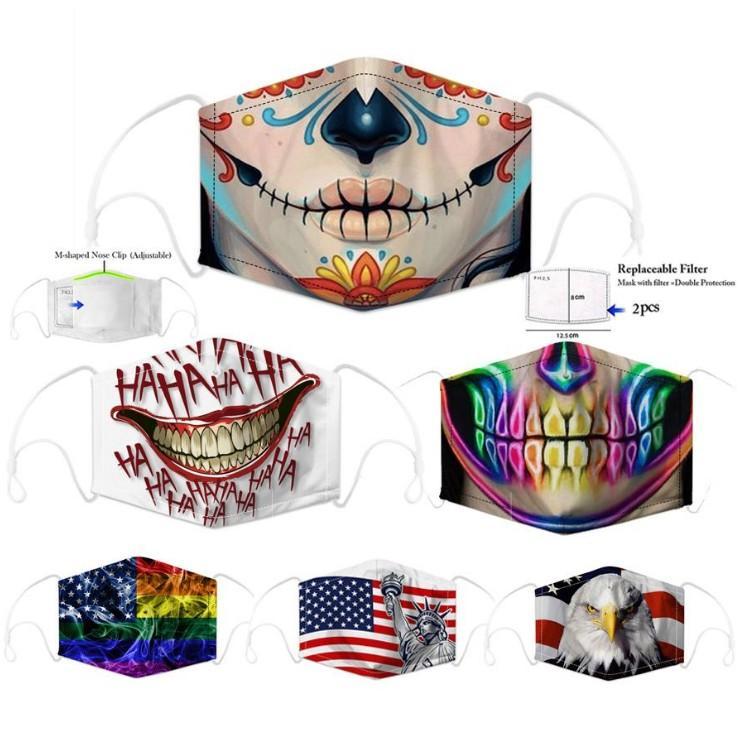 Дизайнерская маска для лица мода хлопок многоразовая маска для лица череп флаг цифровой Спорт Хэллоуин косплей маски для лица пыль теплая ветрозащитная Маска DHL
