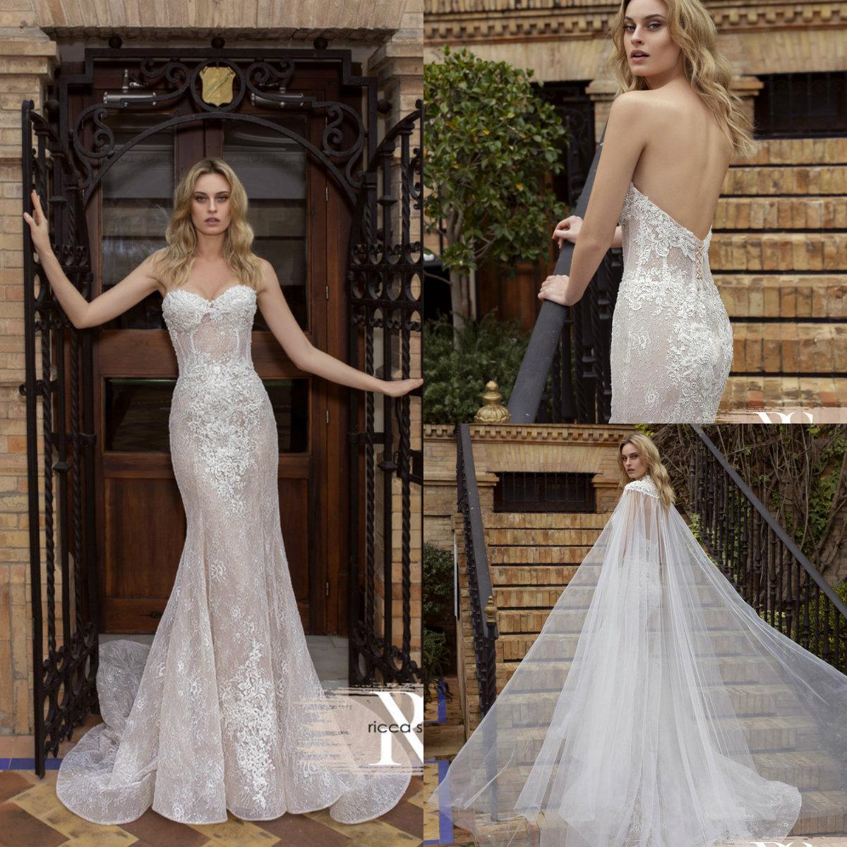 2020 Mermaid Wedding Dress With Wrap Sweetheart Appliqued Beaded Bridal Gown Backless Ruffled Sweep Train Custom Made Vestidos De Novia