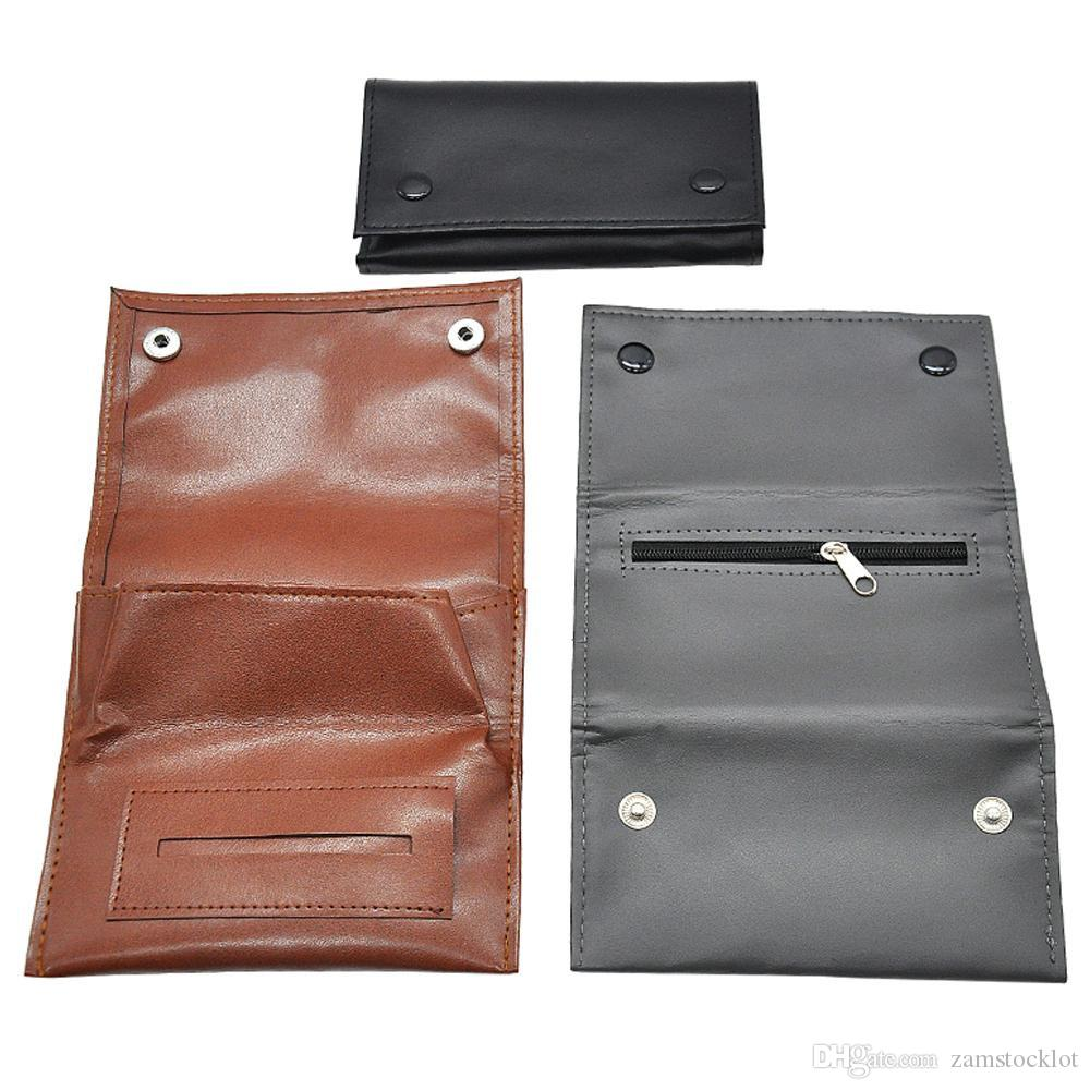 New Arrive PU Leather Smoking Tobacco Herb Pouch with 78MM /70MM Rolling Paper Cigarette Holder Portable Pocket Size Tobacco Box Case Pouch