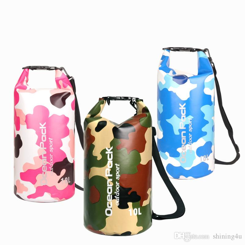 Unisex Strand Lagerung 50% Tarnung Duffel Bags Sport Dry Storage PVC Dry Bucket Pouch Schwimm Rucksack Fashion Outdoor Driften Taschen
