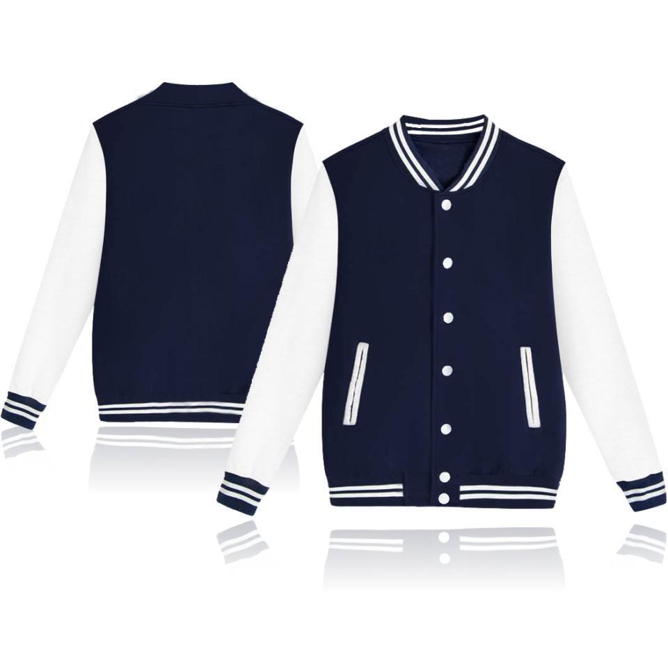Mens DIY Roupa Imprimir Custom Logo Brasão Baseball Jackets Cardigan veludo branco cor sólida costume dos homens uniformes de beisebol