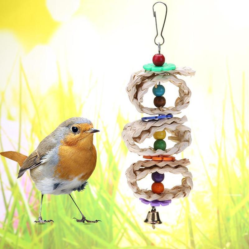 1pc uccelli da compagnia Giocattoli circolare Rattan sfera Parrot preferita Interactive giocattoli di masticazione per Parrot Uccelli Ara Hanging Cage Giocattoli