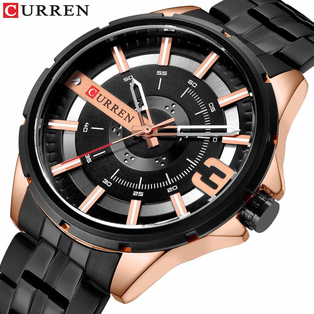 Brand CURREN Assista Homens da forma do aço inoxidável de quartzo relógios para homens impermeável Relógio Masculino Relógio de luxo erkek kol saati