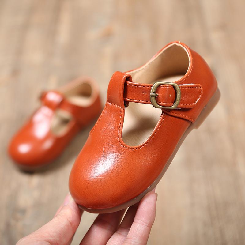 2018 Nova Crianças Sólidos couro loafer, meninos e meninas PU plana sapatos, crianças 18M a 5Y, preto, laranja, verde Army, tamanho 21-30