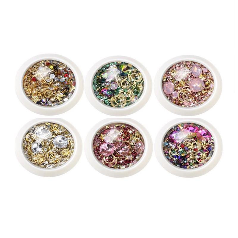 6 Box 3D Nail Rhinestones DIY Mix Nail Art Decoration Jewelry