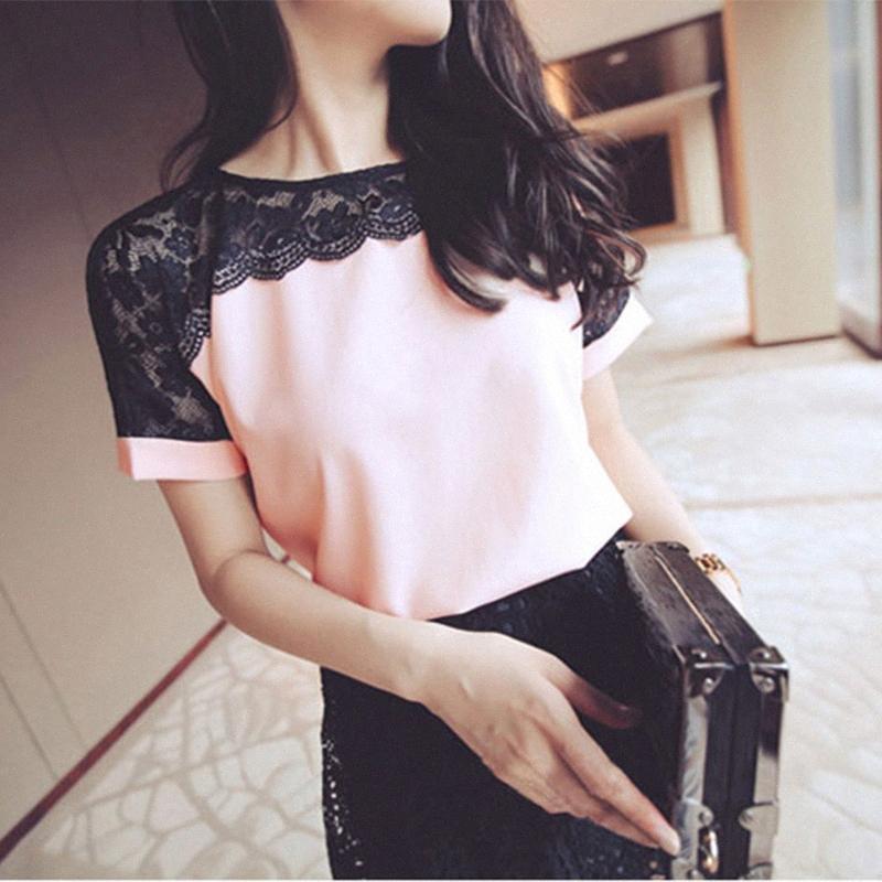 Elegante coreano rosa Moda Chiffon Mulheres Blusas Lace manga curta Mulheres Shirts Womens Tops Blusas Femininas TYbw #