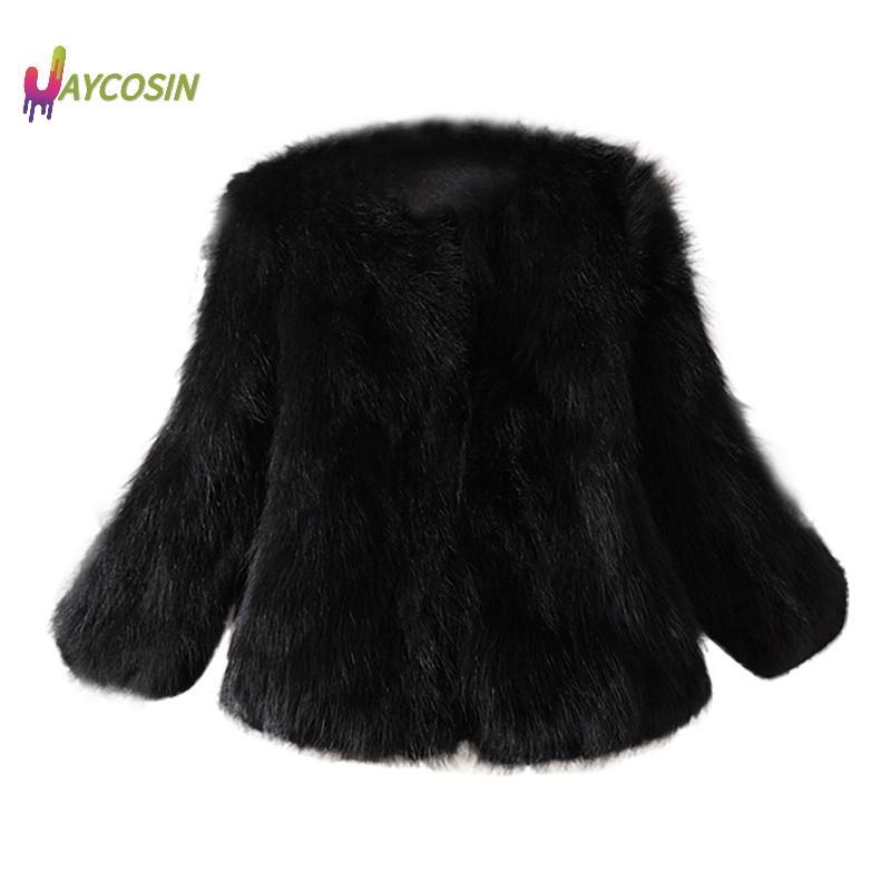 Jaycosin Fashion Women Faux Fur Ostrich Feather Soft Fur Coat Jacket Fluffy Winter Waistcoat Outerwear Manteau Femme Coat Women