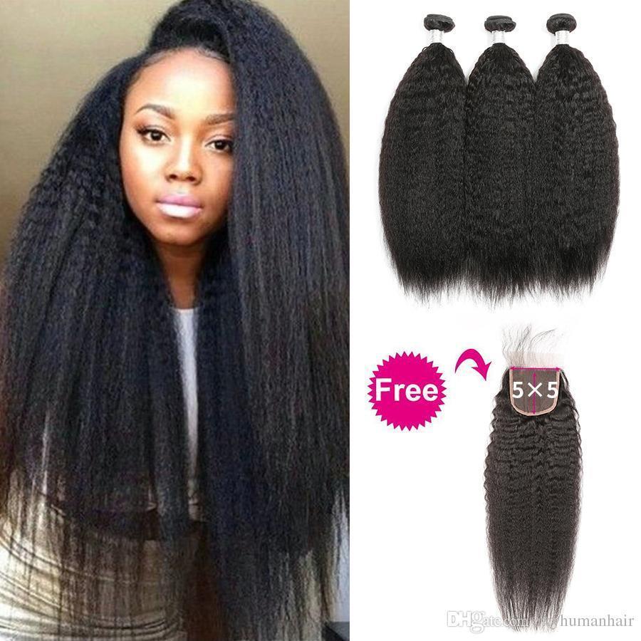 Купить 3 Связки получить один бесплатный Закрытие Kinky Straight Человеческие Пучки волос с 5x5 Lace Clousre Бразильский Девы волос Пучки с 5x5 Закрытие