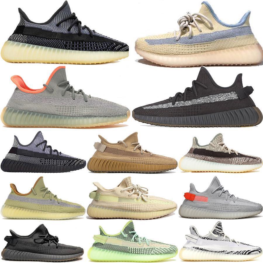 Kanye West de los zapatos corrientes de la escoria Desierto de lino Tierra Grey Gum Chaussure Negro estático reflectante mujeres del diseñador del Mens zapatillas de deporte con la caja 36-48