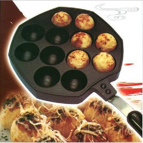 100% Brand Baking Dishes 12 Holes Takoyaki Grill Pan Plate Mold Octopus Ball Maker With Handle Kitchen Cooking Baking Decorating Tools