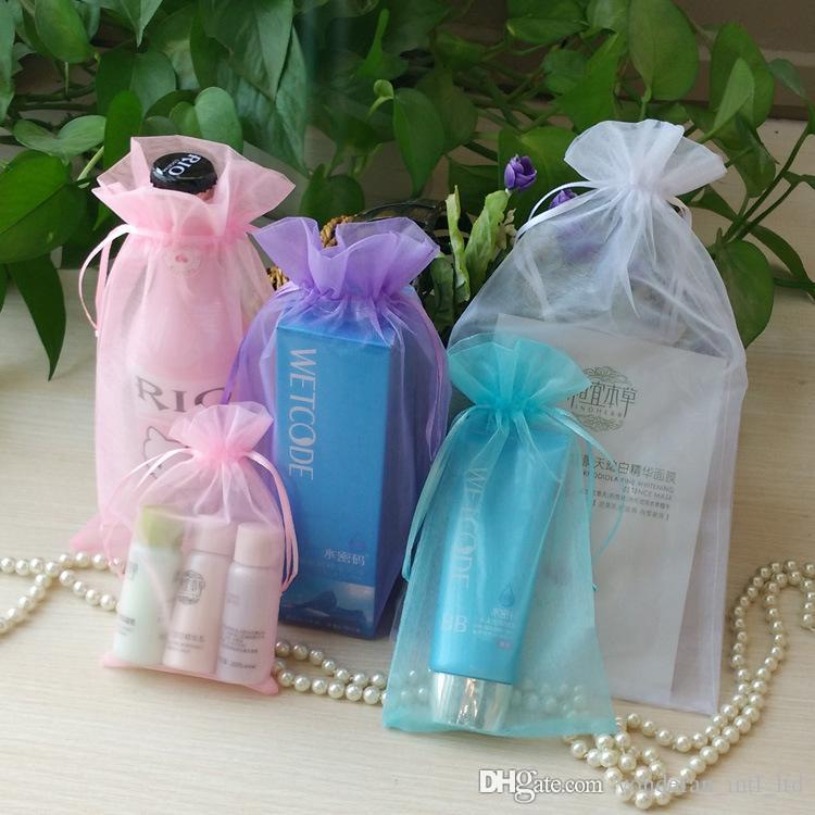 تخصيص الأورجانزا الرباط أكياس الحلوى حزمة حقيبة المجوهرات مستحضرات التجميل حقيبة حزمة الطباعة LOGO الحقائب هدية عيد الميلاد مزج اللون بالجملة