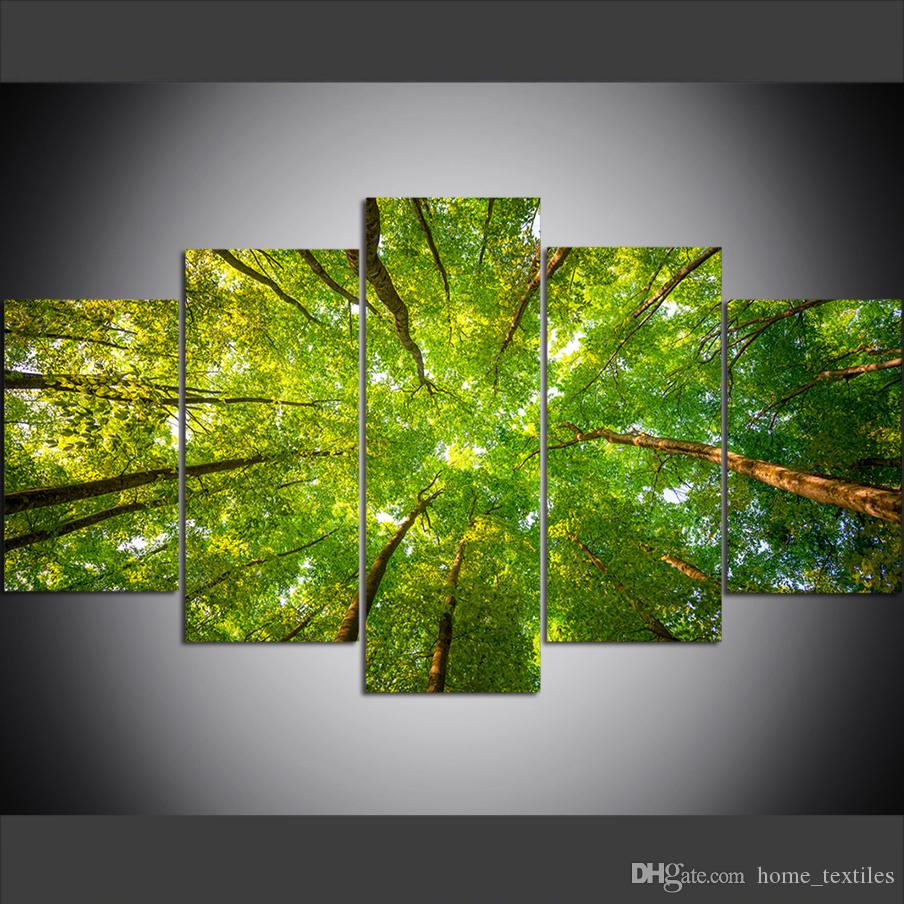5 Piece Large Size Canvas Wall Art Pictures Creative Green Leaves of Forest Trees Art Print Oil Painting for Living Room