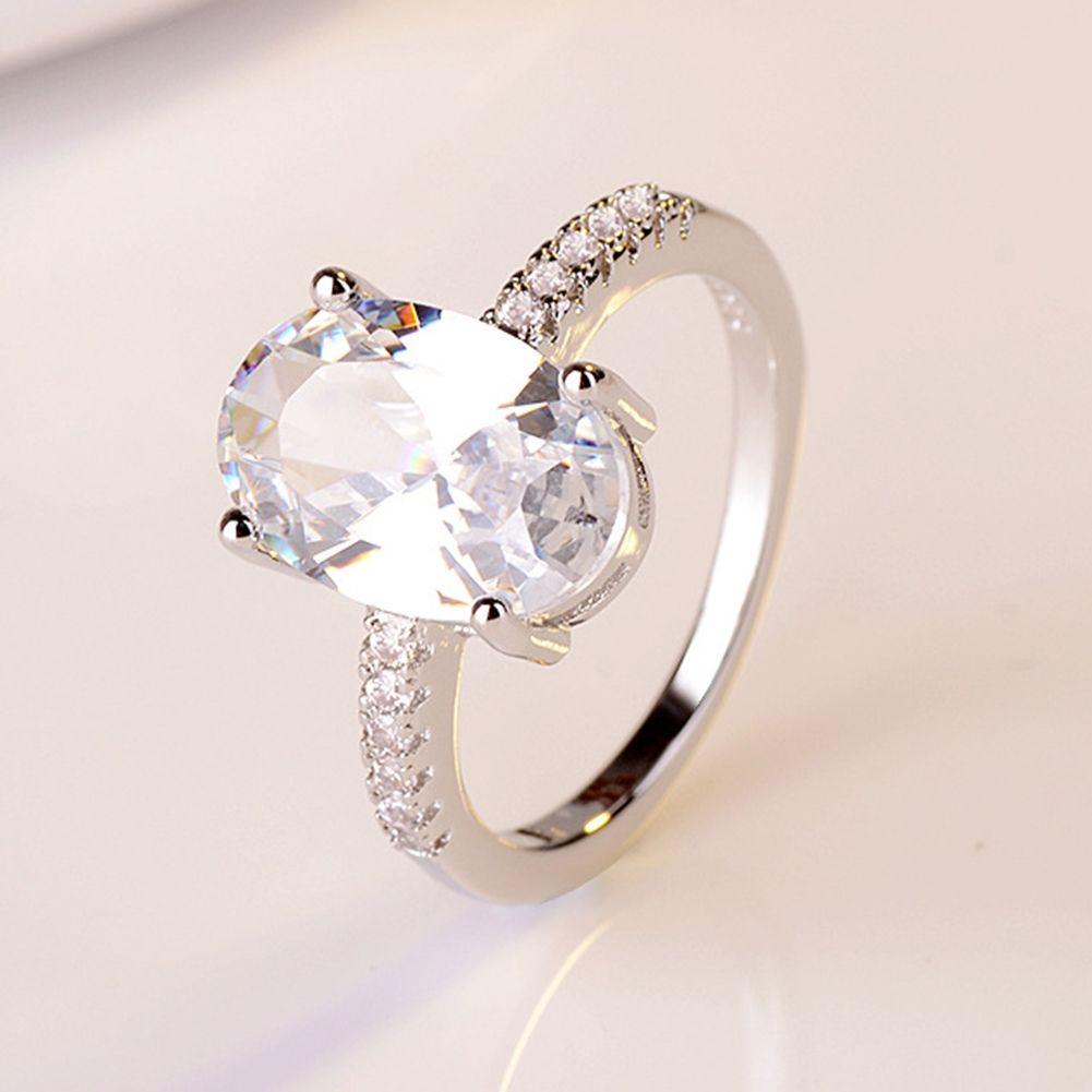 유럽과 미국의 패션 뜨거운 판매 약혼 제안 거위 계란 다이아몬드 반지 도금 18 천개 화이트 골드 링 보석 5 사이즈