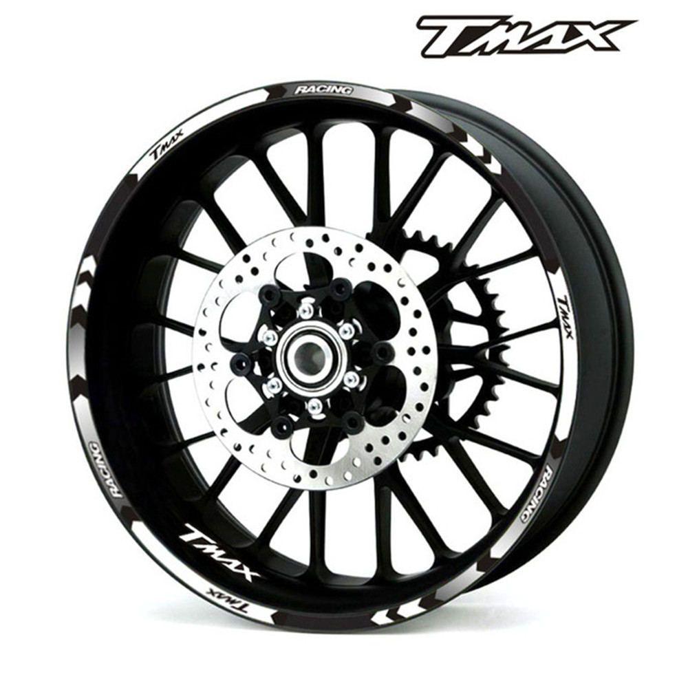 Neuf de haute qualité 12 pièces Fit roue de motocyclette autocollant bande réfléchissante pour Rim Yamaha TMAX 500 530