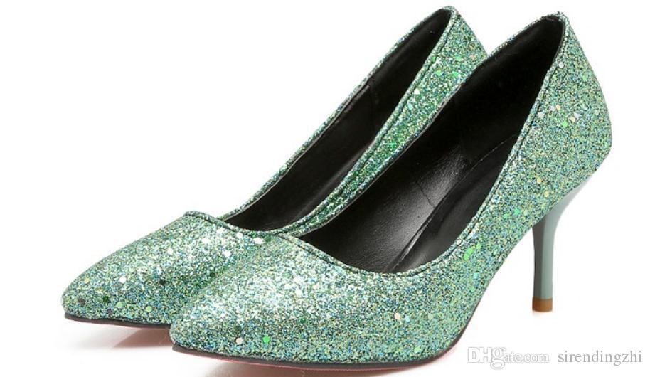 2019 chaussures pour dames au printemps et en automne avec nouveau style talon haut talon fin pointu @ 18