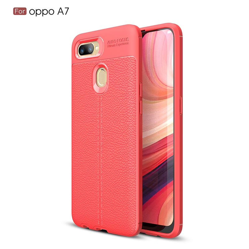 Slim Fit Ultra Thin Carbon Fiber Case for OPPO A7 Leather PU Soft TPU Silicone Rubber Bumper Shockproof Phone Back Cover