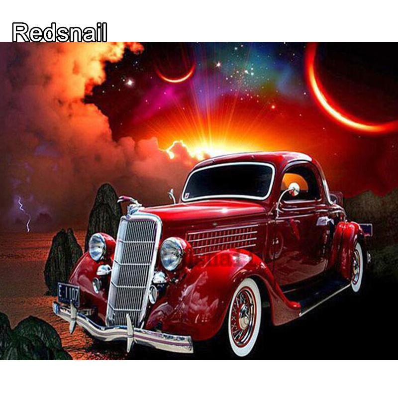 5D DIY diamante Pintura Red Car Com Lua pintado Mosaic Bordado transversal do ponto Bordados Artesanato Decoração TT253