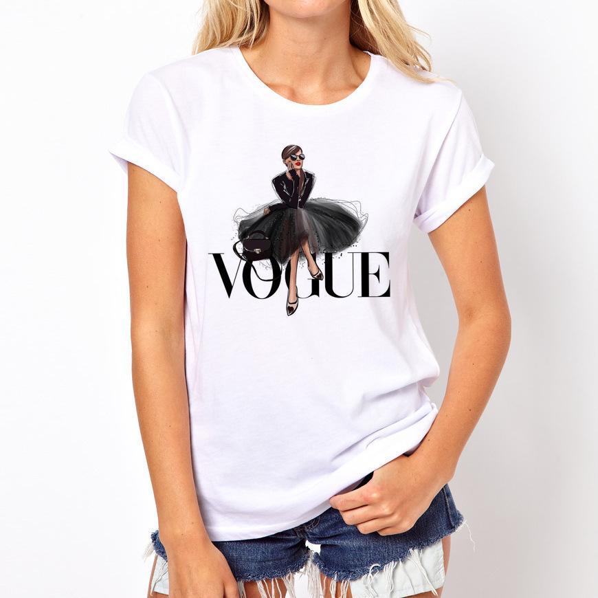 VOGUE 레이디 프린트 T 셔츠 여름 패션 여성 O 넥 T 셔츠 재미 티셔츠 하라주쿠 짧은 캐주얼 티 lovrly 정상 슬리브