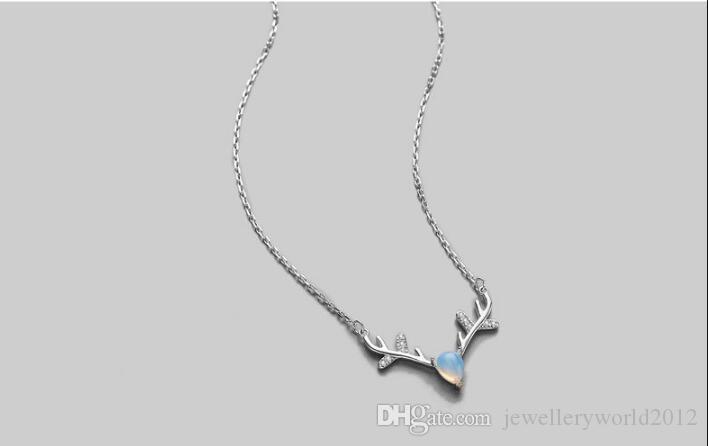 Sterling Серебряное ожерелье камень лунного света олень ты кулон женский ключицы цепи ожерелье Рождество
