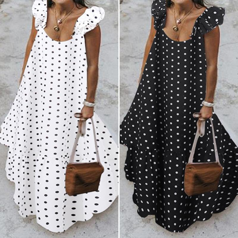 Zanzea 2019 Summer Leopard Sundress Women Bohemian Polka Printed Maxi Dress Understandely Female Selcomeless Rup Long Ruffle Vestidos T200319