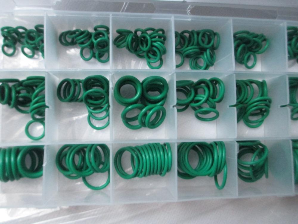 270 Pcs 18 Kinds Mixed Green Rubber Assortment O-Rings for Car Air Conditioner
