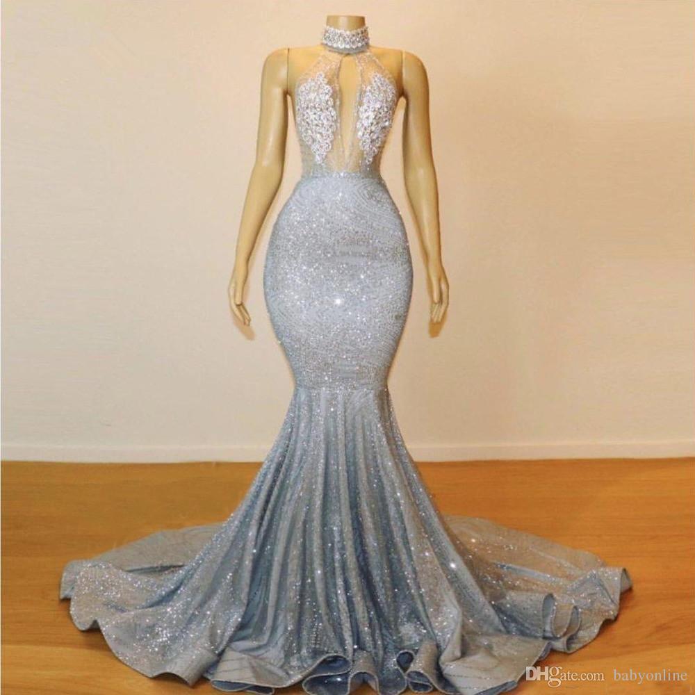 2020 Sparkly Prata Sexy alta Neck Mermaid Prom vestidos longos Lace lantejoulas frisado Backless Chic vestidos de noite formal vestido de festa BC0679