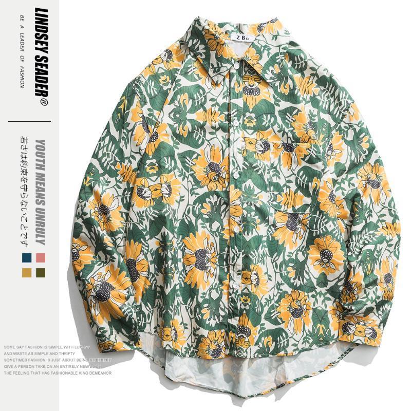 Mens sólido irregular dobladillo inferior manera de la camisa de Hip Hop de camisas flojas de la vendimia Harajuku manga larga Casual Streetwear otoño Outwear