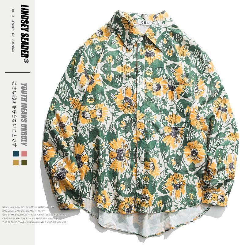 Mens Sólidos Irregular inferior Hem Moda shirt de Hip Hop soltos Shirts Harajuku Vintage manga comprida Casual Streetwear Outono Outwear