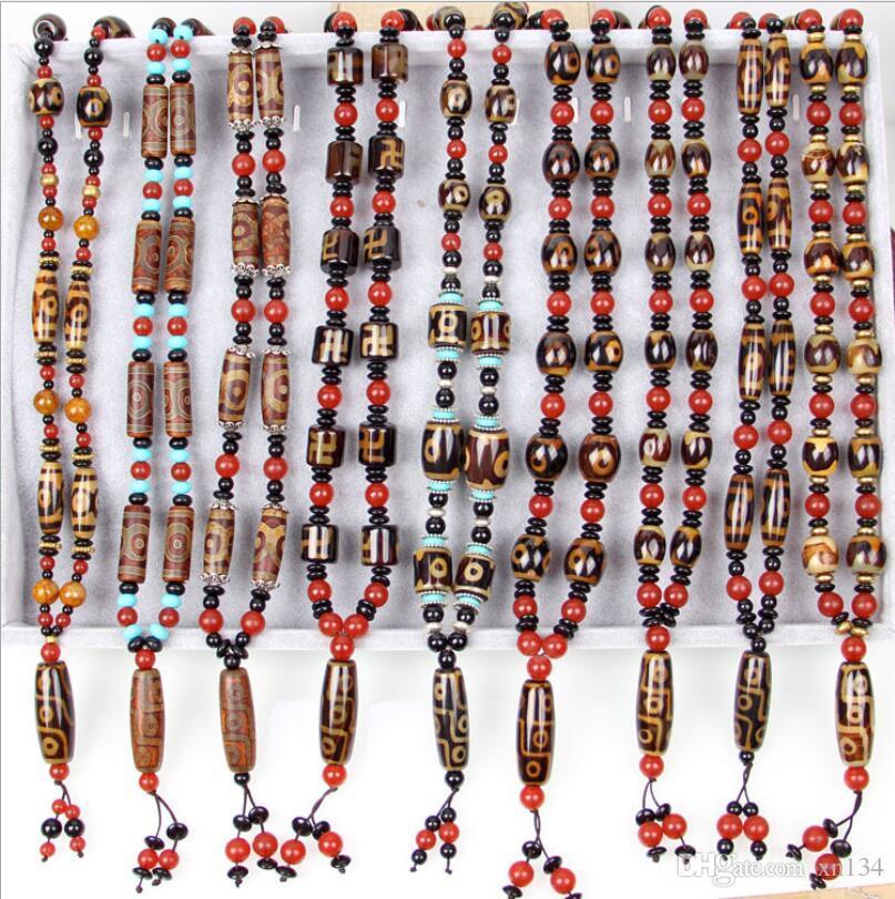마노 비즈 목걸이 티벳 어 고대 방법 구슬 스웨터 체인 9 구슬 비즈를 관통