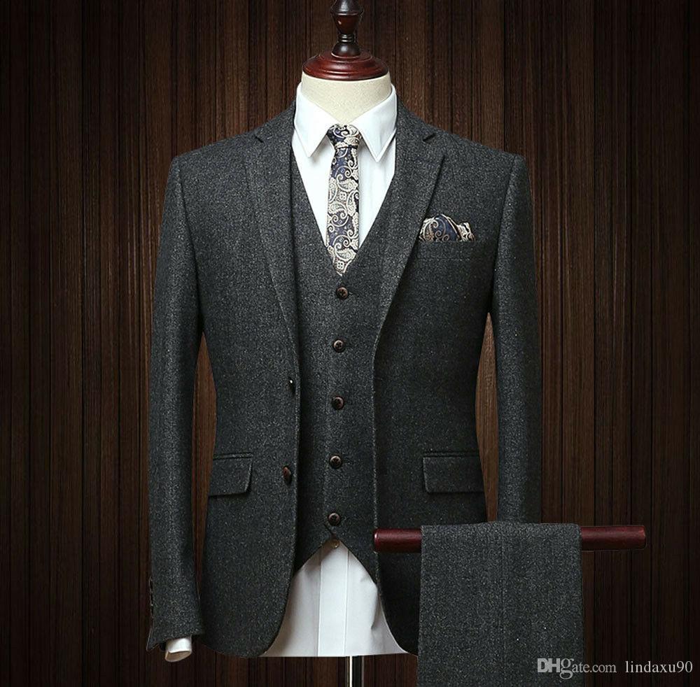 Neue Designer Herren 3 Stück mit Fischgrätmuster Anzüge Wollmischung schwarz Vintage Tailored Anzug Fit Smokings Prom-Anzug (Jacket + Pants + Vest)