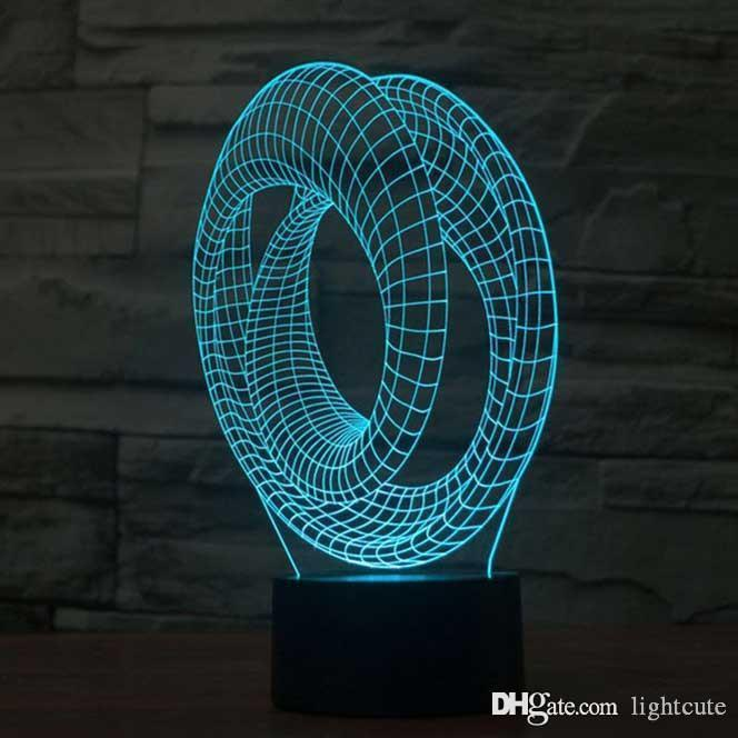 Roller Coaster 3D illusion Lamp Touch 7 Color Changing USB Table Lamp Baby Sleeping Night Light Kids Birthday Gifts Party Supplies