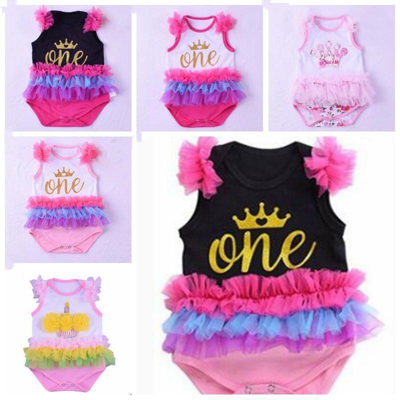Baby Rompers Жилет Детские Дизайнер одежды рябить Комбинезон Корона Первый день рождения Onesies лето хлопок Пачка Пеленки Обложки Новорожденный Комбинезоны B5514