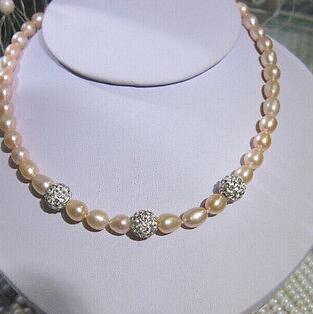 Collana di perle rosa naturale da 8-9mm molto del sud del mare, chiusura di 18 pollici 14k