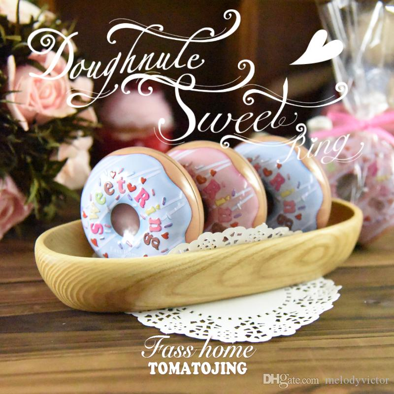 8x7.6x3.8cm Romantic Sweet Cookie Ring Doughnut Design Tin Pot Box For Birthday Wedding Christmas Baby Shower Decoration Gift Candy Packaing
