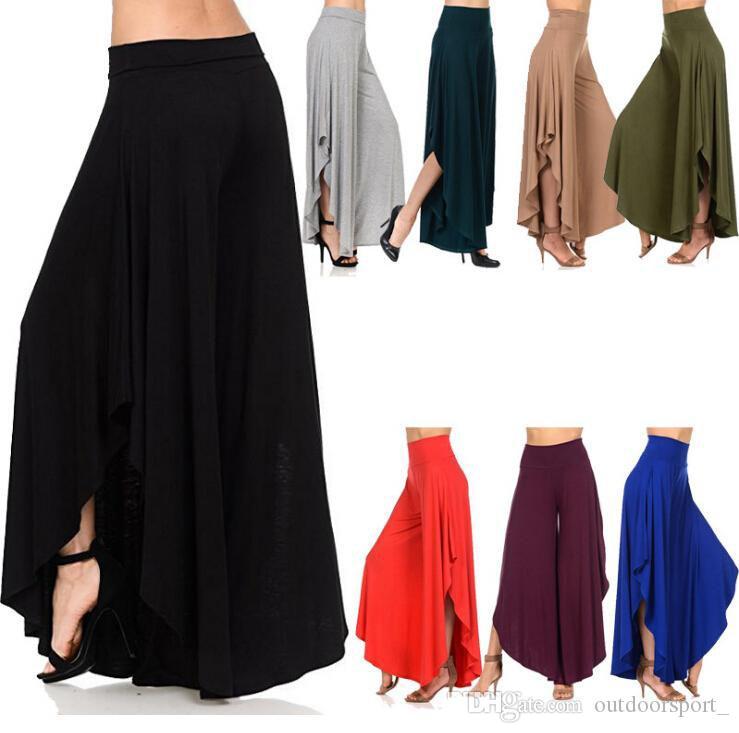 Compre 2019 Elegantes Volantes Irregulares Pantalones Anchos De Mujer Pantalones Plisados De Cintura Alta Femme Pantalones Holgados De Calle Informal A 8 61 Del Outdoorsport Dhgate Com