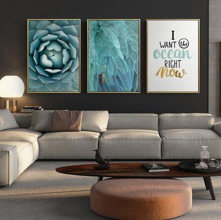 Lettre verte nordique feuille fleur plume océan Paysage Art Photos chambre Modern Living décoration 24x36inch (60x90cm)