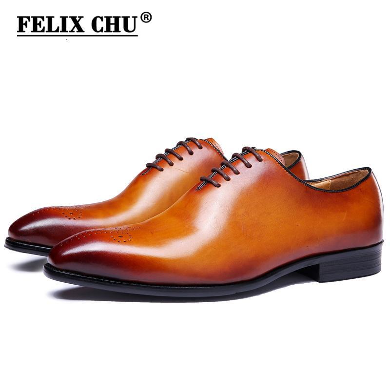FELIX CHU Marque classique en cuir véritable homme entier incisée Oxford lacées de soirée de mariage homme Robe marron Chaussures Brogue Sculpté SH190926