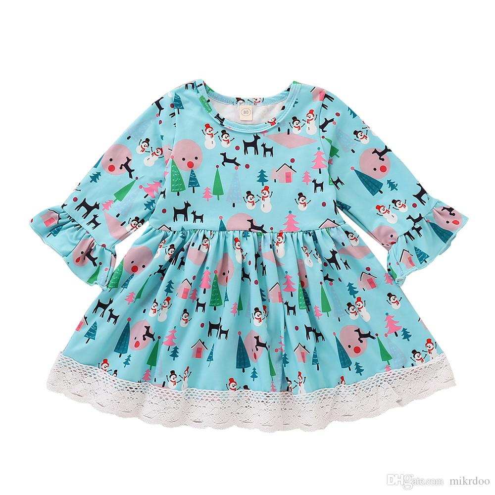 Toddler Baby Kids Girls Christmas Cartoon Snowman Print Dresses Outfits Blue