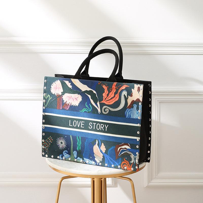 Fashion Luxury Designer Stampato Borsa in tela di fiori per donna Ladies casual Big Open Shopping Tote Bags