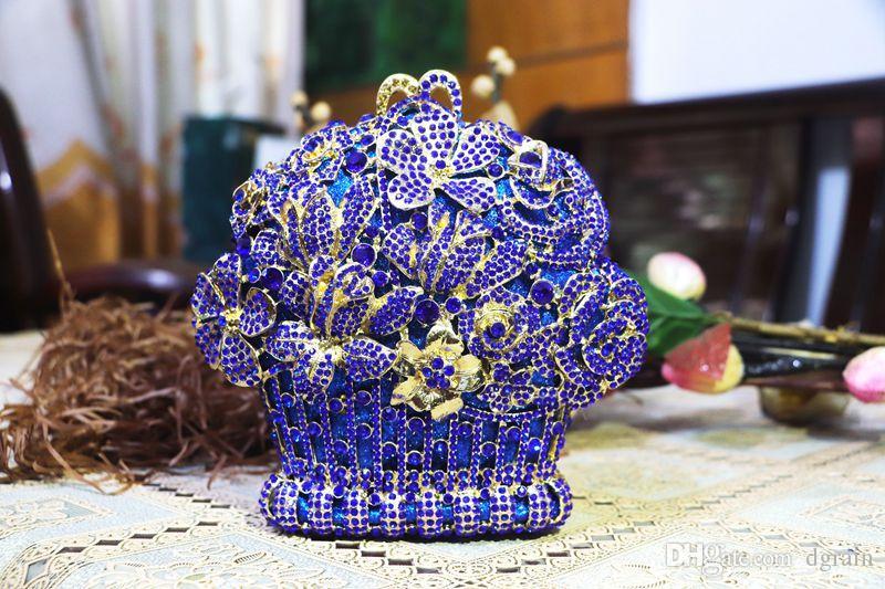Dgrain Neue Design Damenmode Blau und Gold Kristall Clutch Abendtaschen Braut Diamant Clutch Hochzeit Handtasche und Geldbörse Party Box