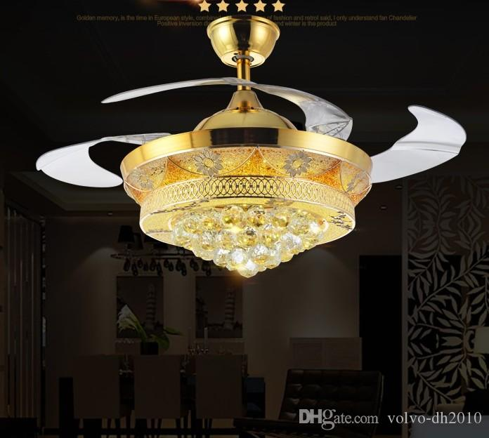 new Led Fans LightInvisible Blades Ceiling Fans Modern Fan Lamp Living Room 42 inch K9 Chandeliers Ceiling Light Pendant Lamp free ship LLFA